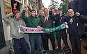 Celtic fans arrive in Amsterdam.