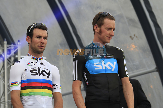 Sky Procycling team leader Bradley Wiggins and World Champion Mark Cavendish (GBR) on stage at the Team Presentation Ceremony before the 2012 Tour de France in front of The Palais Provincial, Place Saint-Lambert, Liege, Belgium. 28th June 2012.<br /> (Photo by Eoin Clarke/NEWSFILE)