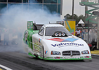 Mar. 17, 2013; Gainesville, FL, USA; NHRA funny car driver Jack Beckman during the Gatornationals at Auto-Plus Raceway at Gainesville. Mandatory Credit: Mark J. Rebilas-