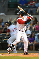 Arkansas Travelers outfielder Zach Borenstein (16) at bat during a game against the San Antonio Missions on May 24, 2014 at Dickey-Stephens Park in Little Rock, Arkansas.  Arkansas defeated San Antonio 4-2.  (Mike Janes/Four Seam Images)