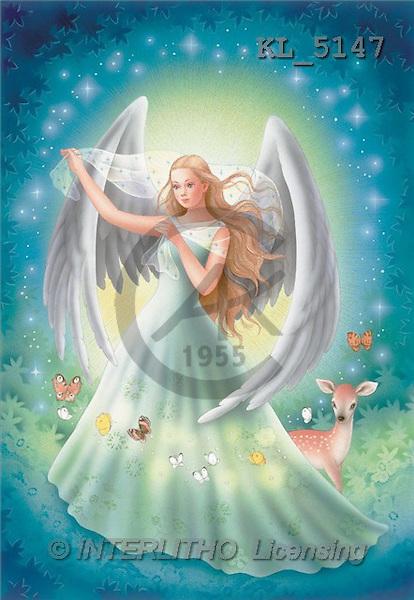 Interlitho, Lorella, FANTASY, paintings, angel, deer, KL, KL5147,#fantasy# illustrations, pinturas
