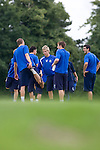 Stockport Pre-Season Training, 09/07/2008. Manor Farm, Timperley, League One. Stockport County players doing stretching exercises after a pre-season training session at the club's training ground at Manor Farm, Timperley, Cheshire. Stockport County were promoted up to league One following a play-off final victory over Rochdale at Wembley in May, 2008. Jim Gannon took over as manager of the club in 2006 and lead them to promotion after three seasons in League Two. Photo by Colin McPherson.