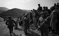 Cukurca - Kurdistan - Turckey/Iraq Border - April 1991.Consequences of Gulf War..Turkish soldiers patrolling the Turkish-Iraqi border where thousands of ethnic kurds fled from their homes becouse of fightings between Saddam Hussein and NATO troops..Photo Livio Senigalliesi