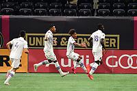 ATLANTA, GA - AUGUST 29: Junior Urso #11 of Orlando City celebrates his goal during a game between Orlando City SC and Atlanta United FC at Marecedes-Benz Stadium on August 29, 2020 in Atlanta, Georgia.