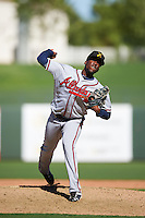 Salt River Rafters pitcher Akeel Morris (28), of the Atlanta Braves organization, during a game against the Surprise Saguaros on October 17, 2016 at Surprise Stadium in Surprise, Arizona.  Surprise defeated Salt River 3-1.  (Mike Janes/Four Seam Images)