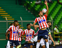 PALMIRA - COLOMBIA, 02-09-2018: Marlon Piedrahita (Der) jugador de Atlético Junior en acción durante el encuentro con Deportivo Cali por la fecha 7 de la Liga Águila II 2017 jugado en el estadio Palmaseca de la ciudad de Palmira. / Marlon Piedrahita (R) player of Atletico Junior in action during the match against Deportivo Cali for the date 7 of the Aguila League II 2017 played at Palmaseca stadium in Palmira city.  Photo: VizzorImage/ Nelson Rios / Cont