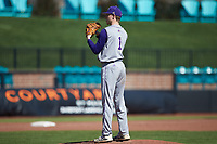 Western Carolina Catamounts relief pitcher Corey Bright (1) looks to his catcher for the sign against the Kennesaw State Owls at Springs Brooks Stadium on February 22, 2020 in Conway, South Carolina. The Owls defeated the Catamounts 12-0.  (Brian Westerholt/Four Seam Images)