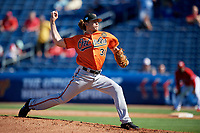 Baltimore Orioles relief pitcher Jimmy Yacabonis (31) delivers a pitch during a Grapefruit League Spring Training game against the Philadelphia Phillies on February 28, 2019 at Spectrum Field in Clearwater, Florida.  Orioles tied the Phillies 5-5.  (Mike Janes/Four Seam Images)