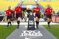 14 MAY 2011: Referee Kari Seitz grabs the ball before the International Friendly soccer match between Japan WNT vs USA WNT at Crew Stadium in Columbus, Ohio.