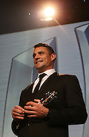 LONDON, ENGLAND - NOVEMBER 01:  Dan Carter of New Zealand receives the World Rugby Player of the Year award during the World Rugby Awards 2015 at Battersea Evolution on November 1, 2015 in London, England.  (Photo: World Rugby)