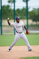 GCL Rays second baseman Juan Carlos Arias (31) throws to first during the first game of a doubleheader against the GCL Red Sox on August 9, 2016 at JetBlue Park in Fort Myers, Florida.  GCL Rays defeated GCL Red Sox 5-4.  (Mike Janes/Four Seam Images)