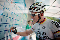 German National Champion André Greipel (DEU/Lotto-Belisol) signing in.<br /> Racing again after a heavy crash in Gent-Wevelgem ended his Spring Classics Season early.<br /> <br /> Tour of Turkey 2014<br /> stage 3