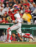 28 September 2010: Philadelphia Phillies' catcher Brian Schneider in action against the Washington Nationals at Nationals Park in Washington, DC. The Nationals defeated the Phillies 2-1 on an Adam Dunn walk-off solo homer in the 9th inning to even up their 3-game series one game apiece. Mandatory Credit: Ed Wolfstein Photo