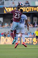SAN JOSÉ CA - JULY 27: Kei Kamara #23, Harold Cummings #31during a Major League Soccer (MLS) match between the San Jose Earthquakes and the Colorado Rapids on July 27, 2019 at Avaya Stadium in San José, California.