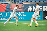 FOXBOROUGH, MA - APRIL 17: Jonathan Bolanos #17 of Richmond Kickers celebrates his goal during a game between Richmond Kickers and Revolution II at Gillette Stadium on April 17, 2021 in Foxborough, Massachusetts.