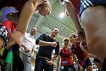 GER - Luebeck, Germany, February 06: During the 1. Bundesliga Damen indoor hockey semi final match at the Final 4 between Berliner HC (blue) and Duesseldorfer HC (red) on February 6, 2016 at Hansehalle Luebeck in Luebeck, Germany. Final score 1-3 (HT 0-1). (Photo by Dirk Markgraf / www.265-images.com) *** Local caption *** head coach Nicolai Sussenburger of Duesseldorfer HC