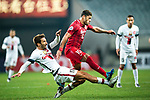 Sydney Wanderers Midfielder Steven Lustica (L) fights for the ball with Shanghai FC Forward Givanildo Vieira De Sousa (Hulk) (R) during the AFC Champions League 2017 Group F match between Shanghai SIPG FC (CHN) vs Western Sydney Wanderers (AUS) at the Shanghai Stadium on 28 February 2017 in Shanghai, China. Photo by Marcio Rodrigo Machado / Power Sport Images