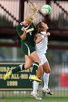 Baylor midfielder Alexa Wilde (7) pushes TCU player while going for a header during   first half of an NCAA soccer game, Friday, October 03, 2014 in Waco, Tex. TCU draw 1-1 against Baylor in double overtime. (Mo Khursheed/TFV Media via AP Images)