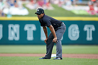 Umpire Erich Bacchus handles the calls at second base during the International League game between the Indianapolis Indians and the Columbus Clippers at Huntington Park on June 17, 2018 in Columbus, Ohio. The Indians defeated the Clippers 6-3.  (Brian Westerholt/Four Seam Images)