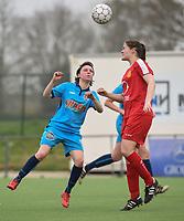 20180414 - DIKSMUIDE , BELGIUM : Diksmuide Merkem's Debbie Decoene (L) and Kontich's Sanne Corten (R) pictured during a soccer match between the women teams of Famkes Westhoek Diksmuide Merkem and KFC Kontch  , during the 22th matchday in the 2017-2018  Eerste klasse - First Division season, Saturday 14 April 2018 . PHOTO SPORTPIX.BE | DIRK VUYLSTEKE