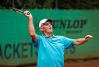 Hilversum, The Netherlands,  August 18, 2020,  Tulip Tennis Center, NKS, National Senior Championships, Men's single 80+  Peter Buter (NED)<br /> Photo: www.tennisimages.com/Henk Koster