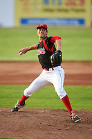 Batavia Muckdogs pitcher Jordan Holloway (56) delivers a pitch during a game against the Mahoning Valley Scrappers on July 3, 2015 at Dwyer Stadium in Batavia, New York.  Batavia defeated Mahoning Valley 7-4.  (Mike Janes/Four Seam Images)