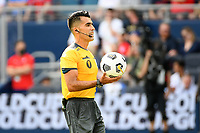 KANSAS CITY, KS - JULY 18: Referee Adonal Escobedo during a game between Canada and USMNT at Children's Mercy Park on July 18, 2021 in Kansas City, Kansas.