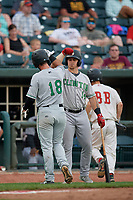 Clinton LumberKings J.D. Osborne (14) congratulates Evan Edwards (18) after hitting a home run during a Midwest League game against the Great Lakes Loons on July 19, 2019 at Dow Diamond in Midland, Michigan.  Clinton defeated Great Lakes 3-2.  (Mike Janes/Four Seam Images)