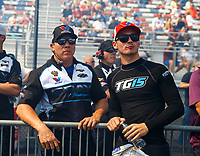 Sep 15, 2017; Concord, NC, USA; NHRA pro stock driver Tanner Gray (right) and crew chief Dave Connolly during qualifying for the Carolina Nationals at zMax Dragway. Mandatory Credit: Mark J. Rebilas-USA TODAY Sports