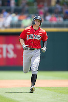 Austin Meadows (19) of the Indianapolis Indians jogs off the field during the game against the Charlotte Knights at BB&T BallPark on June 19, 2016 in Charlotte, North Carolina.  The Indians defeated the Knights 6-3.  (Brian Westerholt/Four Seam Images)