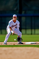 21 February 2019: Washington Nationals infielder Luis Garcia takes infield drills during a Spring Training workout at the Ballpark of the Palm Beaches in West Palm Beach, Florida. Mandatory Credit: Ed Wolfstein Photo *** RAW (NEF) Image File Available ***