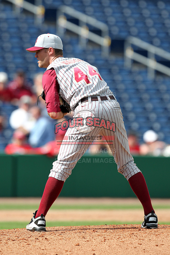 Florida State Seminoles pitcher Mark Waugh #44 delivers a pitch during a scrimmage against the Philadelphia Phillies at Brighthouse Field on February 29, 2012 in Clearwater, Florida.  Philadelphia defeated Florida State 6-1.  (Mike Janes/Four Seam Images)