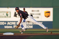 AZL Indians 1 second baseman Richard Palacios (13) pursues a ground ball during an Arizona League game against the AZL White Sox at Goodyear Ballpark on June 20, 2018 in Goodyear, Arizona. AZL Indians 1 defeated AZL White Sox 8-7. (Zachary Lucy/Four Seam Images)