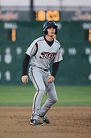 Taylor Kohlwey (24) of the Lake Elsinore Storm leads off of second base during a game against the Lancaster JetHawks at The Hanger on June 14, 2017 in Lancaster, California. Lancaster defeated Lake Elsinore, 4-0. (Larry Goren/Four Seam Images)