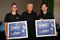 Artist/official Jim Swintal with champions #47 Forty 7 Motorsports Norma M30, LMP3: Austin McCusker, Rodrigo Pflucker