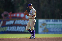 Western Carolina Catamounts shortstop Daniel Walsh (19) on defense against the Saint Joseph's Hawks at TicketReturn.com Field at Pelicans Ballpark on February 23, 2020 in Myrtle Beach, South Carolina. The Hawks defeated the Catamounts 9-2. (Brian Westerholt/Four Seam Images)