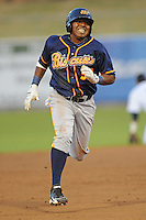 Montgomery Biscuits Daniel Mayora #32 runs to third during a game against  the Tennessee Smokies at Smokies Park in Kodak,  Tennessee;  April 13, 2011.  Tennessee defeated Montgomery 12-2.  Photo By Tony Farlow/Four Seam Images