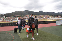 """ZIPAQUIRA - COLOMBIA,  01-02-2021:Millonarios  y Once Caldas en partido por la fecha 3 como parte de la Liga BetPlay DIMAYOR 2021 jugado en el estadio  Héctor """"El Zipa"""" González de la ciudad de Zipaquirá. /Millonarios and Once Caldas  in match for the date 3 as part of the BetPlay DIMAYOR League I 2021 played at  Héctor """"El Zipa"""" González stadium in Zipaquira city. Photo: VizzorImage / Felipe Caicedo / Staff"""