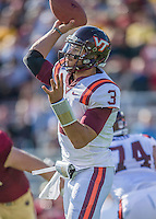2 November 2013: Virginia Tech Hokies quarterback Logan Thomas (3) passes for short yardage in the third quarter against the Boston College Eagles at Alumni Stadium in Chestnut Hill, MA. The Eagles defeated the Hokies 34-27. Mandatory Credit: Ed Wolfstein-USA TODAY Sports *** RAW (NEF) Image File Available ***
