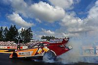 Aug. 7, 2011; Kent, WA, USA; NHRA funny car driver Melanie Troxel during the Northwest Nationals at Pacific Raceways. Mandatory Credit: Mark J. Rebilas-