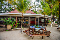 Honduras, Roatan Island, Fantasy Island Resort, Caribbean. Dining pavillion at hotel.