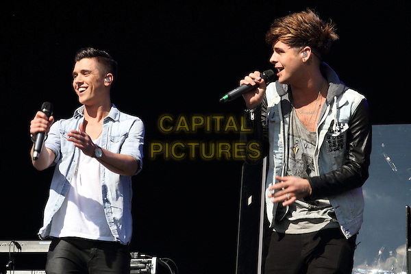 JJ Hamblet & Jaymi Hensley of Union J.'As One in the Park' London's new Gay and Lesbian Festival, Victoria Park, London, England..May 26th 2013.on stage in concert live gig performance performing music half length jean denim shirt white top singing profile .CAP/ROS.©Steve Ross/Capital Pictures.