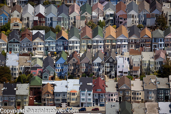 aerial photograph of rows of houses on a hill in San Francisco, California