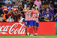 Orlando, FL - Wednesday July 31, 2019:  Marcos Llorente #14, Goal Celebration, Héctor Herrera #16 during the Major League Soccer (MLS) All-Star match between the MLS All-Stars and Atletico Madrid at Exploria Stadium.