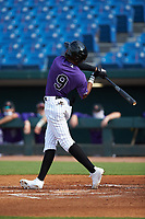 Braylon Bishop (9) of Texarkana Arkansas HS in Ashdown, AR playing for the Colorado Rockies scout team during the East Coast Pro Showcase at the Hoover Met Complex on August 2, 2020 in Hoover, AL. (Brian Westerholt/Four Seam Images)