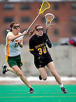 5 April 2008: University at Albany Great Danes' Attack/Midfielder Mel Rorie, a Freshman from Lansdale, PA, in action against the University of Vermont Catamounts at Moulton Winder Field, in Burlington, Vermont. With only seconds left in regulation time, the Catamounts rallied to defeat the visiting Danes 11-10 in America East conference play...Mandatory Photo Credit: Ed Wolfstein Photo
