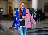 ORLANDO, FL - FEBRUARY 28: Ashlyn Harris #18 of the United States models a coat during a SheBelieves press conference at City Hall on February 28, 2020 in Orlando, Florida.