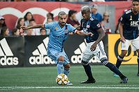FOXBOROUGH, MA - SEPTEMBER 29: Maximiliano Moralez #10 of New York City FC brings the ball forward during a game between New York City FC and New England Revolution at Gillettes Stadium on September 29, 2019 in Foxborough, Massachusetts.