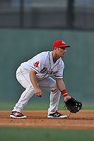 Third baseman Mitchell Gunsolus (22) of the Greenville Drive plays defense in a game against the Augusta GreenJackets on Wednesday, May 4, 2016, at Fluor Field at the West End in Greenville, South Carolina. Greenville won, 6-3. (Tom Priddy/Four Seam Images)