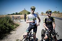 Australian TT champion Luke Durbridge (AUS/Mitchelton-Scott) & Adam Yates (GBR/Mitchelton-Scott) during a little break in the  TTT training by Team Mitchelton-Scott > preparing for the 2019 Tour de France 'Grand Départ'  in Brussels<br /> <br /> ©kramon